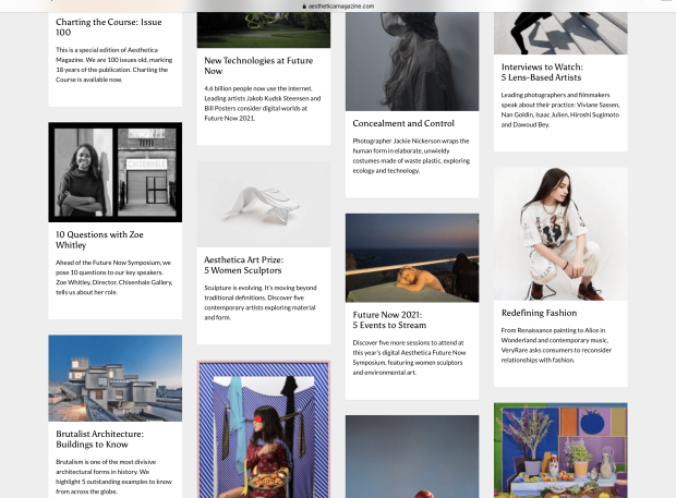 A screenshot of the Aesthetica website